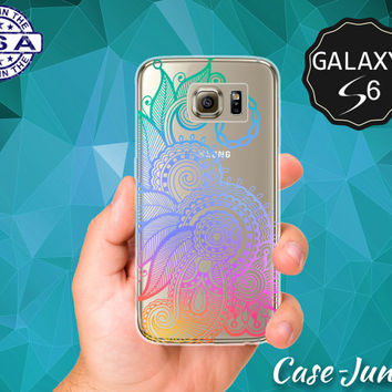 Rainbow Henna Tattoo Flower Design Tumblr Inspired Mandala Case for Clear Rubber Samsung Galaxy S6 and Samsung Galaxy S6 Edge Clear Cover