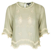 Lace Trim Embroidered Crop - Tops  - Clothing