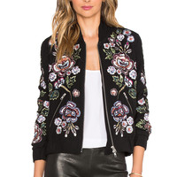 Needle & Thread Rose Scatter Bomber Jacket in Black & Burgundy