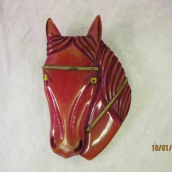 Bakelite Horse Brooch Pin, Costume Jewelry by Leo Baekeland