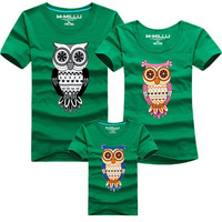 New Family Look Owl Printed T Shirts 12 Colors Summer Family Clothes Father & Mother & Daughter & Son Outfits, HC371