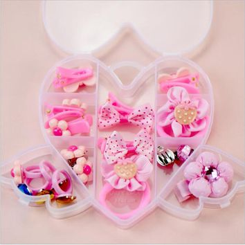 2017 Fashion New Hair Accessories Christmas Gift Girls Hair Clip Girl Headband Bow Hairpins Box Set Jewelry Kids Cute Rings Gum