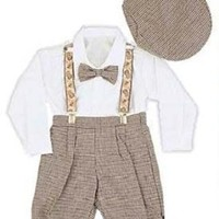 Infant & Toddler Boys Vintage Style Knickers Outfit 5-pc with Suspenders, Bowtie & Newsboy Cap (Toddlers 4T)
