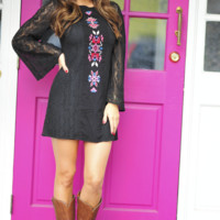 Perfect Play On Aztec Dress: Black | Hope's