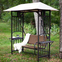 2-Person Natural Brown Resin Wicker Gazebo Canopy Porch Swing Glider