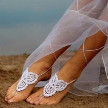 *Stylish White Weave Barefoot Sandals