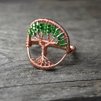 Wire Wrapped Tree of Life Ring Copper and Green Size Six Celtic Tree Wire Ring Seed Beads and Tarnish Resistant Copper Wire Metaphysical