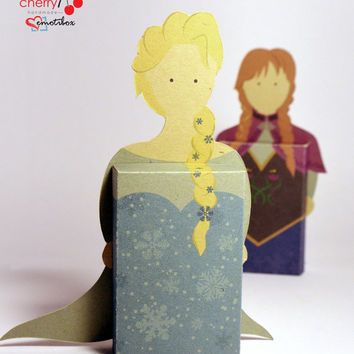 Frozen Elsa and Anna emotibox - Customized geek paper box for season greetings, birthday wishes, expressing emotions, disney greetings