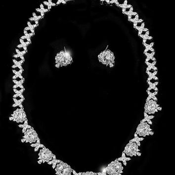 Stella Art Deco Radiant Cut Necklace Set | 65 Carat | Cubic Zirconia