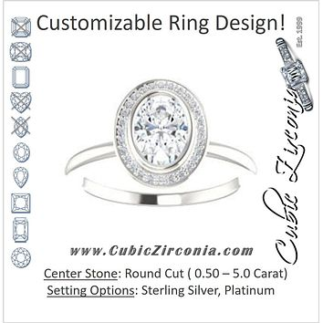 Cubic Zirconia Engagement Ring- The Maura (Customizable Bezel-set Oval Cut Halo Design with Thin Band)