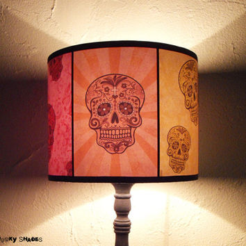"Rainbow Skulls Lamp Shade Lampshade 7,9 ""x 9,8"" - skull lamp shade, halloween, calavera, teen room decor, mexican decor, bohemian decor"