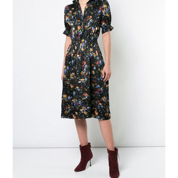 Adam Lippes Black Floral Print Midi Shirt Dress - ShopBAZAAR
