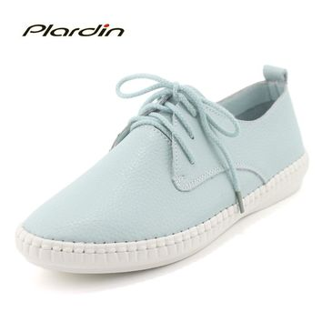 plardin 2018  Round Toe Genuine Leather  Shoes Flat Cut outs Women Shoes Summer Concise Casual Ballet Flats Women Nurse Loafers
