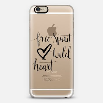 Free Spirit Wild Heart Calligraphy in Black iPhone 6 case by Nicki Traikos | Casetify
