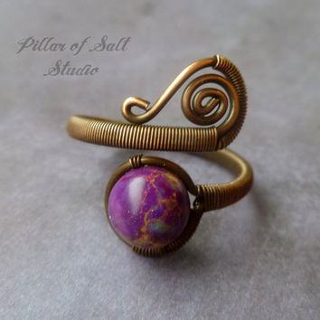 Wire wrapped jewelry handmade, Copper Wire Wrapped Ring, adjustable ring, earthy jewelry, purple sea sediment jasper, copper wire jewelry