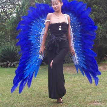 Awesome Blue Wings Ostrich Feather Angel Wings for Stage Show Cosplay Party Wedding