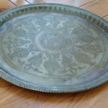 Large Round Vintage Engraved Brass Indian Boho Bohemian Persian Tray Table Top Platter