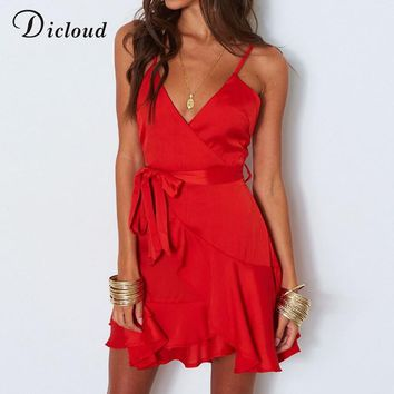 Dicloud red satin party dress summer women backless sexy v neck mini beach sundress white casual streetwear Christmas dress