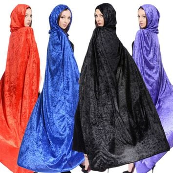 New Adult Gothic Hooded Pleuche Cloak Wicca Robe Medieval Witchcraft Cape Kid Adult Women Men Halloween Costume