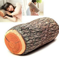 Natural Wood Style Cushion Neck Home Sleeping Throw Log Back Soft Pillow