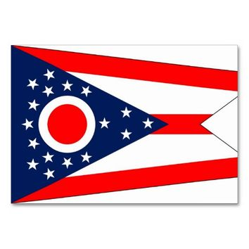 Patriotic table card with Flag of Ohio