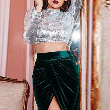 Silver Sequin Crop Sparkly Band Collar Long Sleeve Clubwear Party T-Shirt