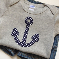Nautical Baby Boy Clothes // Anchor Bodysuit size 6-12 Months // Heather Gray Navy Blue Polka Dots // Boys Clothing