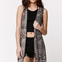 LA Hearts Crochet Hem Sleeveless Kimono - Womens Shirts