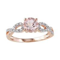 Morganite & 1/10 Carat T.W. Diamond Engagement Ring in 10k Rose Gold (Pink)