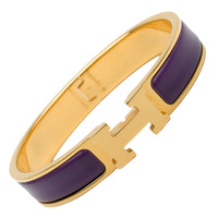 Hermes Purple Clic Clac H Narrow Enamel Bracelet GM
