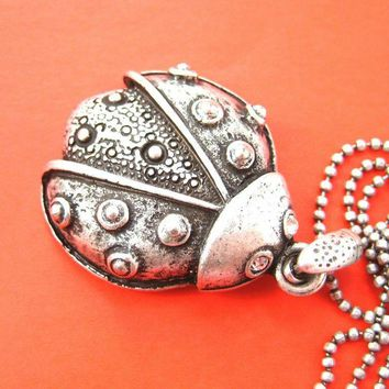 Ladybug Pendant Necklace in Silver with Polka Dot Pattern | DOTOLY