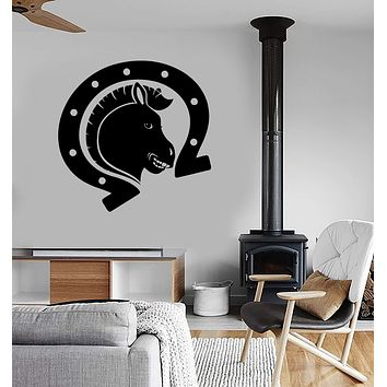 Wall Stickers Vinyl Decal Horse Horseshoe Talisman Luck Decor Unique Gift (ig150)