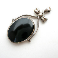 Reversible Pendant Black Onyx Mother Of Pearl Sterling Silver