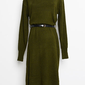 Green Long Sleeve Midi Dress