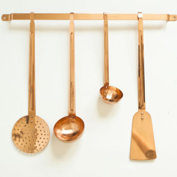 Vintage Decorative Copper Utensils with Hanger, Spoon Ladles Strainer Spatula with Rack, Farmhouse Manor House French Kitchen