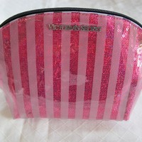 Victoria's Secret Bling Sequin Red Striped Cosmetic Makeup Bag Purse
