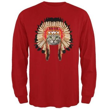 CREYCY8 Thanksgiving Funny Cat Native American Red Adult Long Sleeve T-Shirt