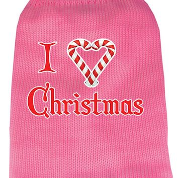 I Heart Christmas Screen Print Knit Pet Sweater Lg Pink large
