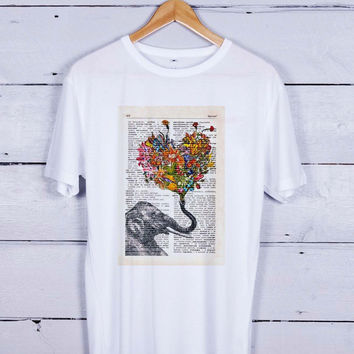 elephant art books Tshirt T-shirt Tees Tee Men Women Unisex Adults