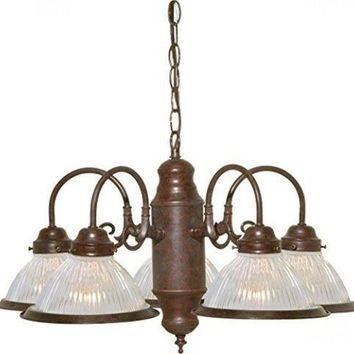 """Nuvo 76-445 - 5-Lights 22"""" Old Bronze Chandelier with Clear Ribbed Shades"""