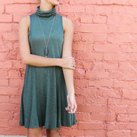 Sweet Embrace Olive Sleeveless Slub Turtleneck Swing Dress