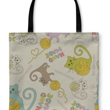 Tote Bag, Needlework Cats Knitting Sewing Pattern