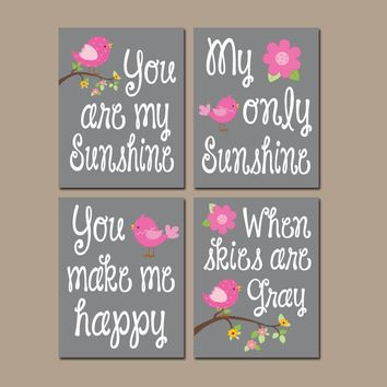 PINK Gray You Are My Sunshine Wall Art, CANVAS or Prints Baby Girl Nursery Song Rhyme Quote Decor, Girl  Set of 4 Decor, Gift for Girl