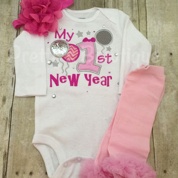 Baby girl 1st New Year's Shirt or bodysuit, legwarmers and headband.  ADD name for NO CHARGE 2016