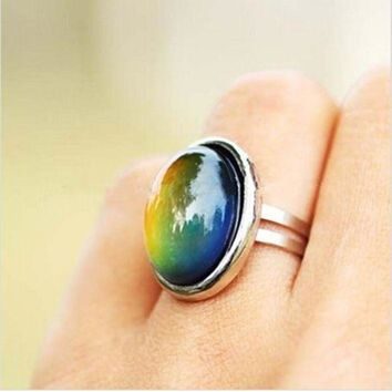 DCCKFV3 2016 Crystal Jewelry Changing Color Mood Ring Temperature Emotion Feeling RINGS MOOD Adjustable Size Gifts event party  Supplies