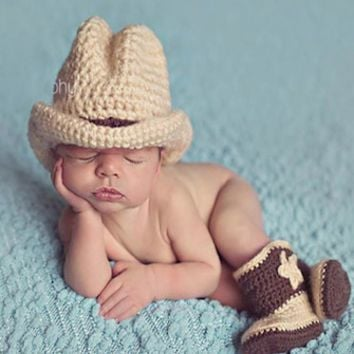 Cowboy Crochet Baby Western Hat and Boots Newborn Prop - CCACBY