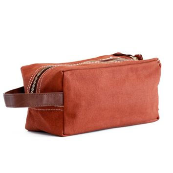 Camel Waxed Canvas Travel Case