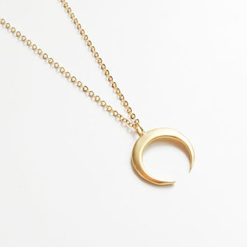 Crescent Moon Necklace | Gold Moon Necklace | Moon Charm Necklace | Boho Necklace | Layering Necklace