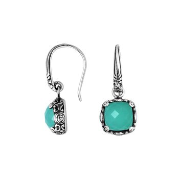AE-6227-CH.G Sterling Silver Cushion Shape Earring With Green Chalcedoney