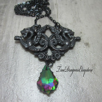 Winged Gargoyle Necklace Swarovski Elements Pendant Gothic Black Chain Brass Charm Green Purple Swarovski